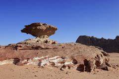 Stock Photo of Mushroomshaped balancing rock desert Wadi Rum Jordan Asia