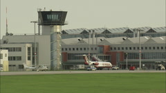AERIAL Germany-Landing At Dresden Airport - stock footage