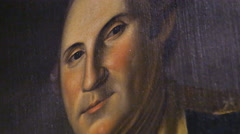 3886 George Washington Oil Painting in Museum Close Up, 4K Stock Footage