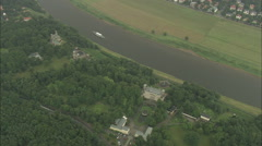 AERIAL Germany-Boats Along River Elbe - stock footage