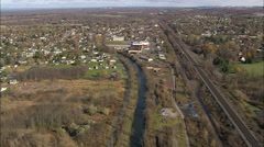AERIAL United States-Flight Along The Old Erie Canal To Canastota 45 Stock Footage
