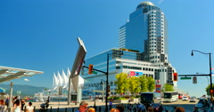 4K Canada Place, Vancouver Conference Centre and Pan Pacific Hotel in Background Stock Footage