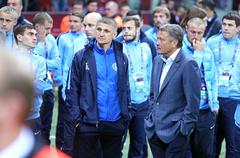 FC Dnipro players react after lose the Final - stock photo