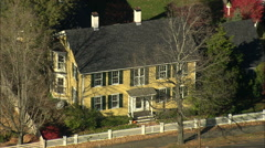 AERIAL United States-Front Street Houses Stock Footage