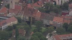 AERIAL Germany-Erfurt Kramerbrucke Stock Footage