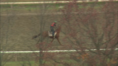 AERIAL United States-Exercising Racehorses 45 Stock Footage