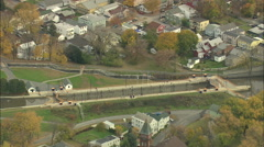 AERIAL United States-Waterford And Start Of Erie Canal 75 Stock Footage