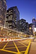 Financial district in Hong Kong at night - stock photo