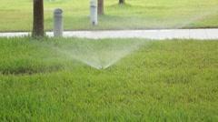 Lawn sprinkler irrigation facilities - stock footage