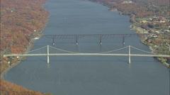 AERIAL United States-Mid Hudson Bridge 45 Stock Footage