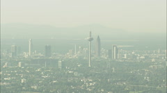 AERIAL Germany-Follow A5 Motorway To Reveal Frankfurt In Distance Stock Footage