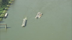 AERIAL Germany-River Rhine And Commercial Boats Stock Footage