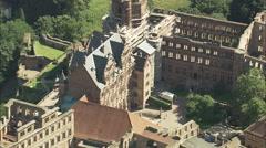 AERIAL Germany-Heidelberg Castle Stock Footage