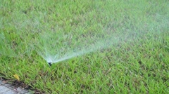 Lawn sprinkler irrigation facilities - stock footage