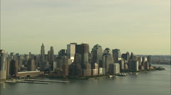 AERIAL United States-Battery Park City From The Hudson At 200Ft 45 Stock Footage