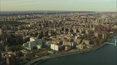 Stock Video Footage of AERIAL United States-Manhattan From East River At 200Ft 60