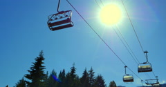 4K Gondola Cable-Car Suspended, Bright Yellow Sun Stock Footage