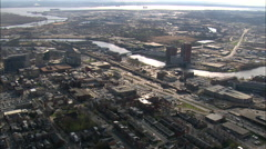 AERIAL United States-The Christina River Through Wilmington Stock Footage