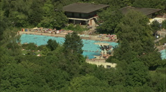 AERIAL Germany-Swimming Pool In Rothenburg Stock Footage