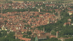 AERIAL Germany-Rothenburg's Town Wall And Towers Stock Footage
