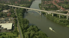 AERIAL Germany-River Main Traffic And Railway Bridge Stock Footage