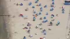 AERIAL Germany-Beach Approaching Kolpinsee Stock Footage