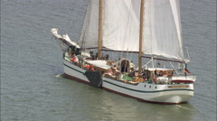 AERIAL Germany-Sailing Barge On Achterwasser Stock Footage