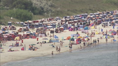 AERIAL Germany-Crowded Beach Stock Footage