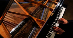 4K Classical Music on Grand Piano, Fingers and Hammers, Sound Stock Footage