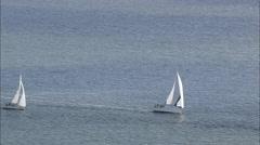 AERIAL Germany-Yachts Racing On Strelasund Stock Footage