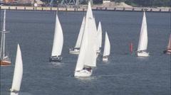 AERIAL Germany-Yachts Racing On Strelasund - stock footage