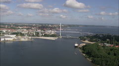 AERIAL Germany-Old And New Bridges At Stralsund Stock Footage