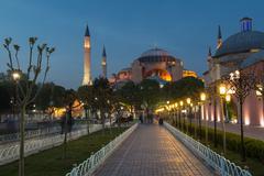 Hagia Sophia Ayasofya mosque illuminated Sultanahmet European side Istanbul - stock photo