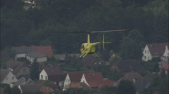 AERIAL Germany-Medical Emergency Helicopter Coming Into Land Stock Footage