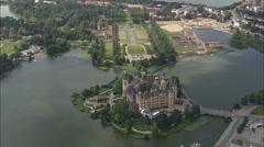AERIAL Germany-Schwerin Castle Stock Footage