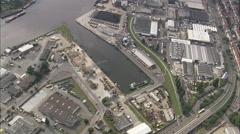 AERIAL Germany-Hemelingen Docks On River Weser Stock Footage