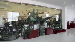 Exhibition and sale of sculptures made of jade, Beijing Stock Footage