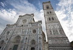 Stock Photo of Campanile and cathedral Duomo Santa Maria del Fiore UNESCO World Heritage Site