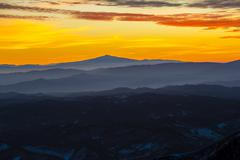 Stock Photo of Sunset on Mount Amiata Monte Amiata in winter Apennines Marche Italy Europe