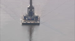 AERIAL Germany-Barge Crane On River Weser Near Bremen Stock Footage