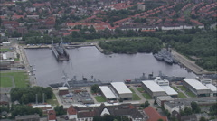 AERIAL Germany-Wilhelmshaven Docks Stock Footage