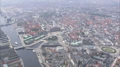AERIAL Denmark-Copenhagen - Old Stock Exchange Stock Footage