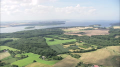 AERIAL Denmark-Southern End Of Roskilde Fjord Stock Footage