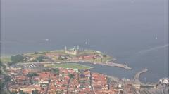 AERIAL Denmark-Kronborg Slot Stock Footage