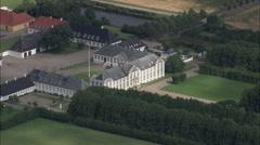 AERIAL Denmark-Lerchenborg Slot Stock Footage