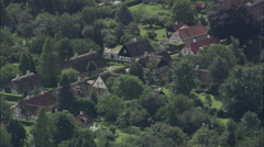 AERIAL Denmark-Troense And Thatched Houses Stock Footage