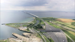 AERIAL Denmark-East And West Ends Of The Great Belt Bridge Stock Footage