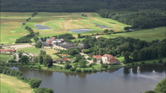 AERIAL Denmark-Skjoldenaesholm (Manor House) Stock Footage