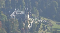 Peles Castle in forest, focus out, Transylvania, Romania Stock Footage