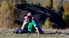 Little son playing with father in nature, piggy ride, happy child  Stock Footage
